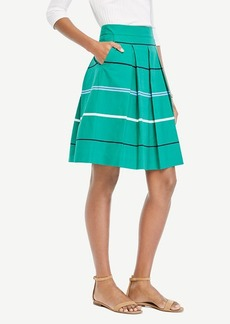 Ann Taylor Striped Poplin Pleated Full Skirt