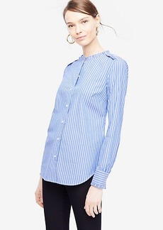 Striped Poplin Ruffle Neck Blouse