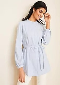 Ann Taylor Striped Poplin Tie Waist Tunic Shirt