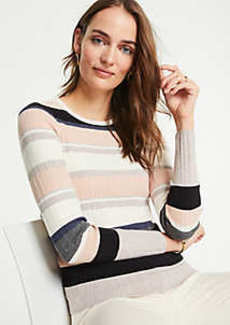 Ann Taylor Striped Ribbed Sweater