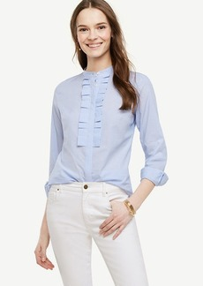 Striped Ruffle Pleat Poplin Blouse