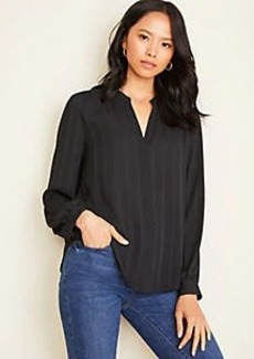 Ann Taylor Striped Shirred V-Neck Blouse