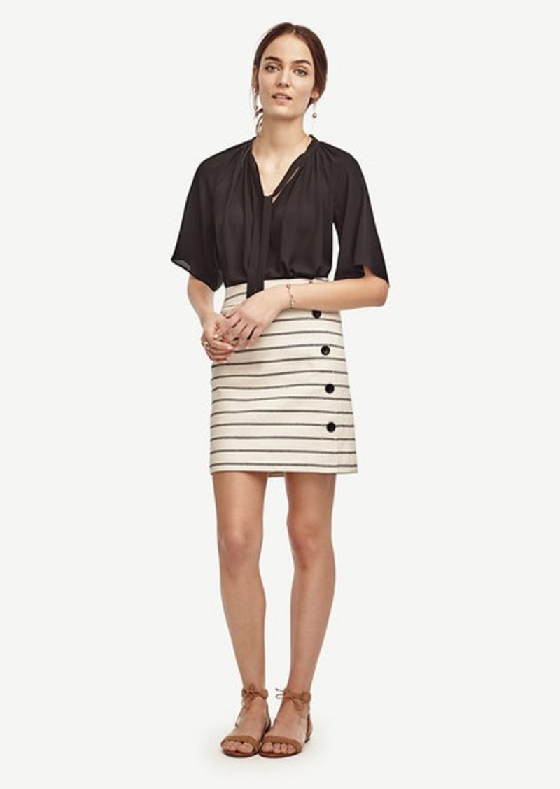 Ann Taylor Striped Side Button Skirt