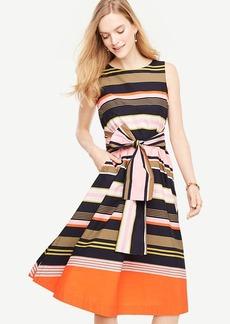 Striped Sleeveless Belted Dress
