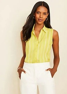 Ann Taylor Striped Sleeveless Essential Shirt