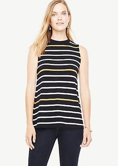 Striped Sleeveless Mock Neck Top