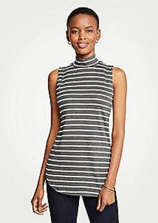 Ann Taylor Striped Sleeveless Mock Neck Tunic