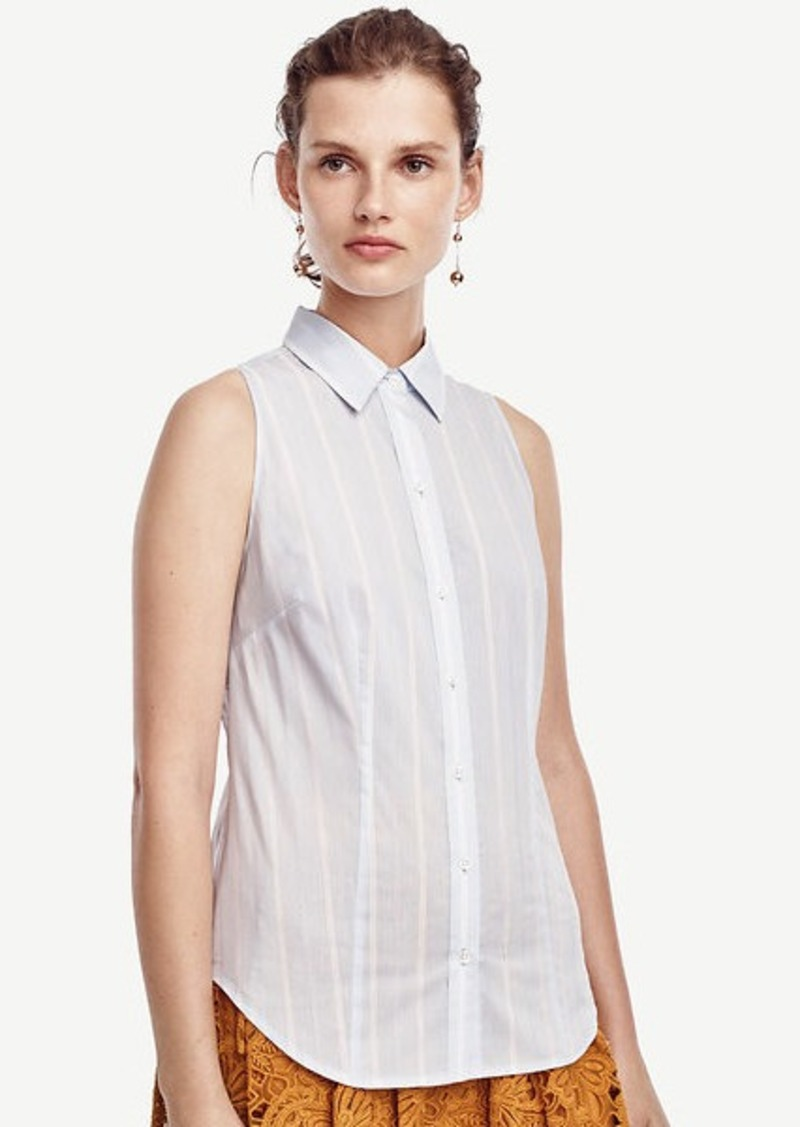 Ann Taylor Striped Sleeveless Perfect Shirt