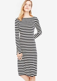 Striped Slit Cuff Sweater Dress