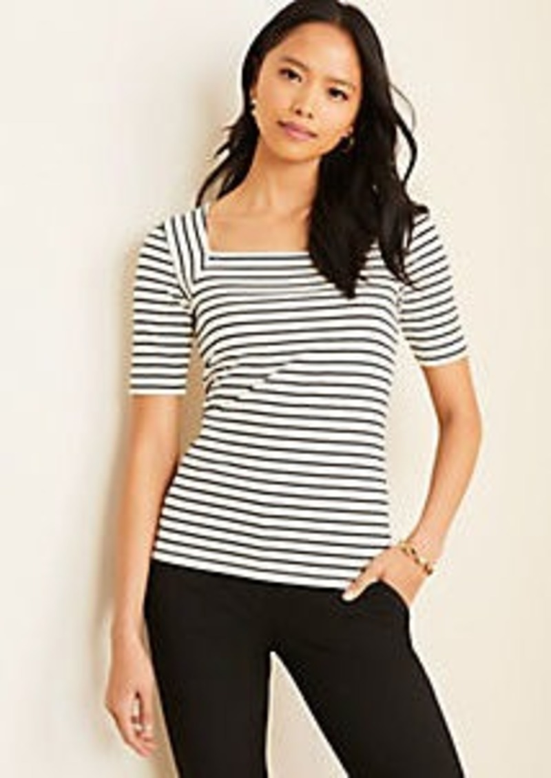 Ann Taylor Striped Square Neck Luxe Tee