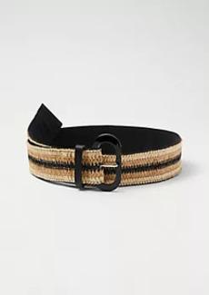 Ann Taylor Striped Stretch Straw Waist Belt