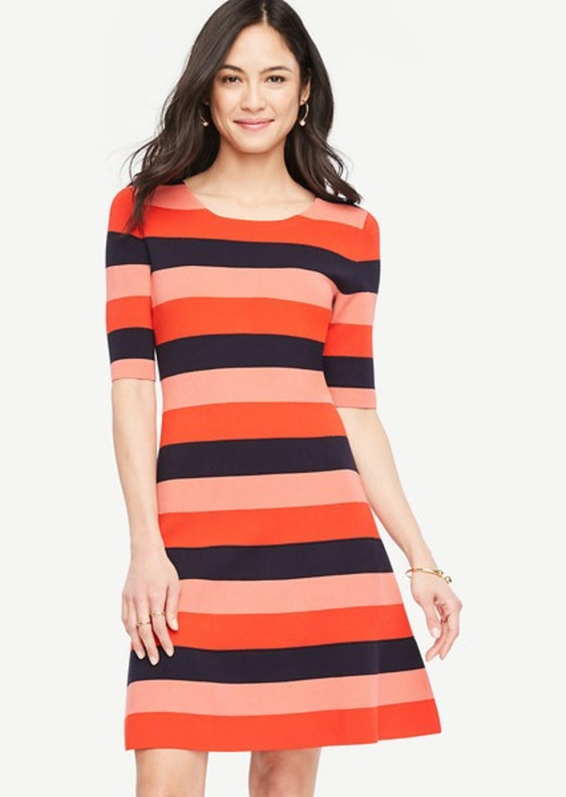 Ann Taylor Striped Sweater Swing Dress Dresses