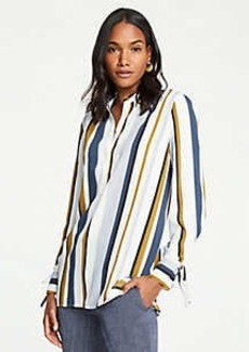 Ann Taylor Striped Tie Cuff Tunic Blouse