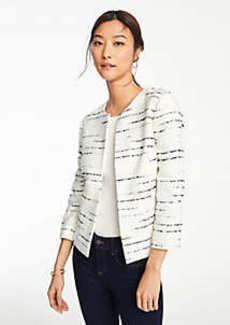 Ann Taylor Striped Tweed Open Jacket