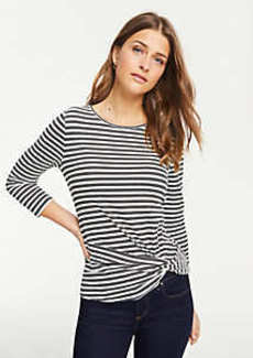 Ann Taylor Striped Twist Hem Top