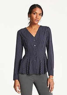 Ann Taylor Striped V-Neck Blouse