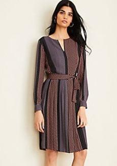 Ann Taylor Sunflower Stripe Pleated Flare Dress