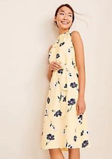 Ann Taylor Sunny Poppy Tie Waist Flare Dress