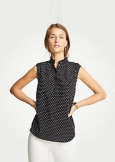 Ann Taylor Swiss Dot Ruffle Neck Shell