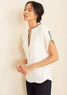 Ann Taylor Tab Sleeve Mixed Media Top