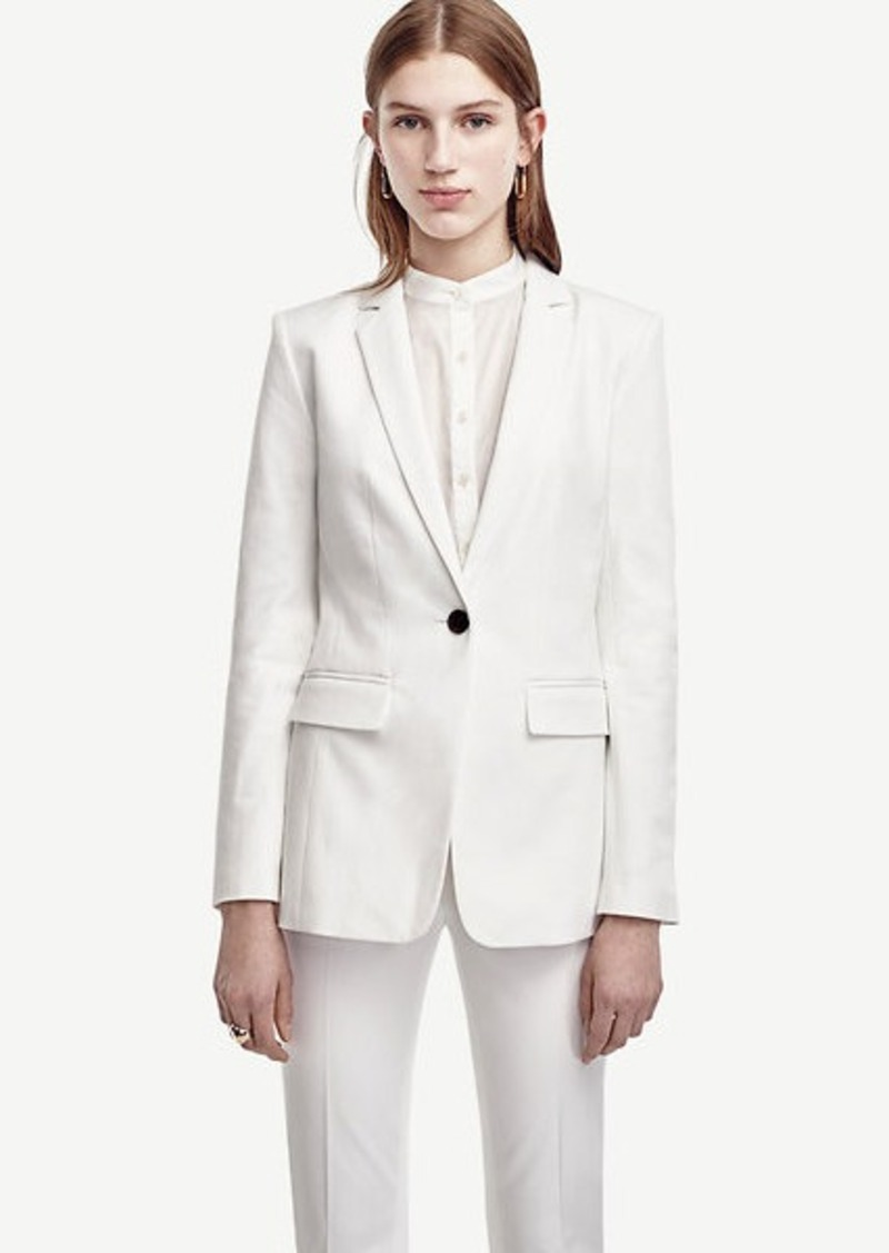 Ann Taylor Tall Cotton Blend One Button Jacket