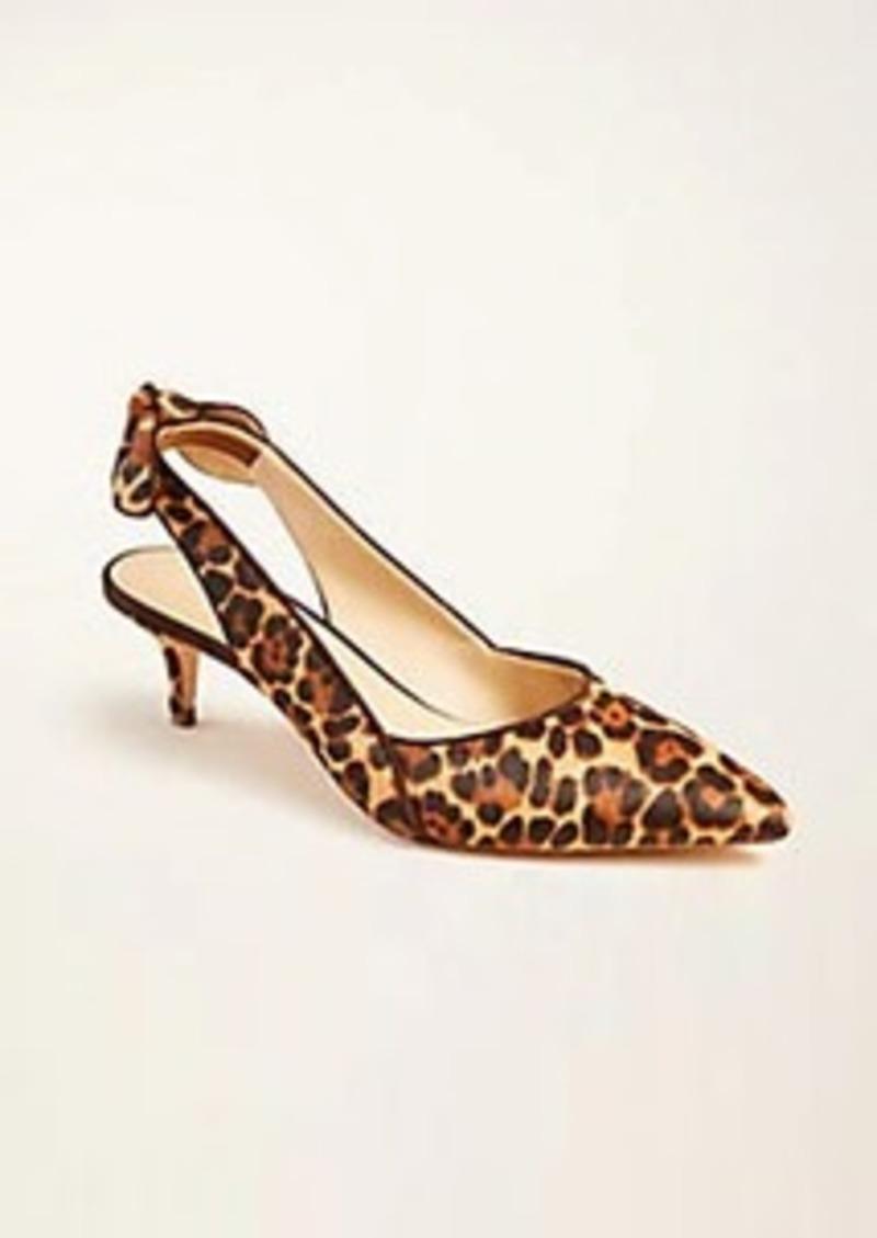 Ann Taylor Tanja Leopard Print Haircalf Slingback Bow Pumps