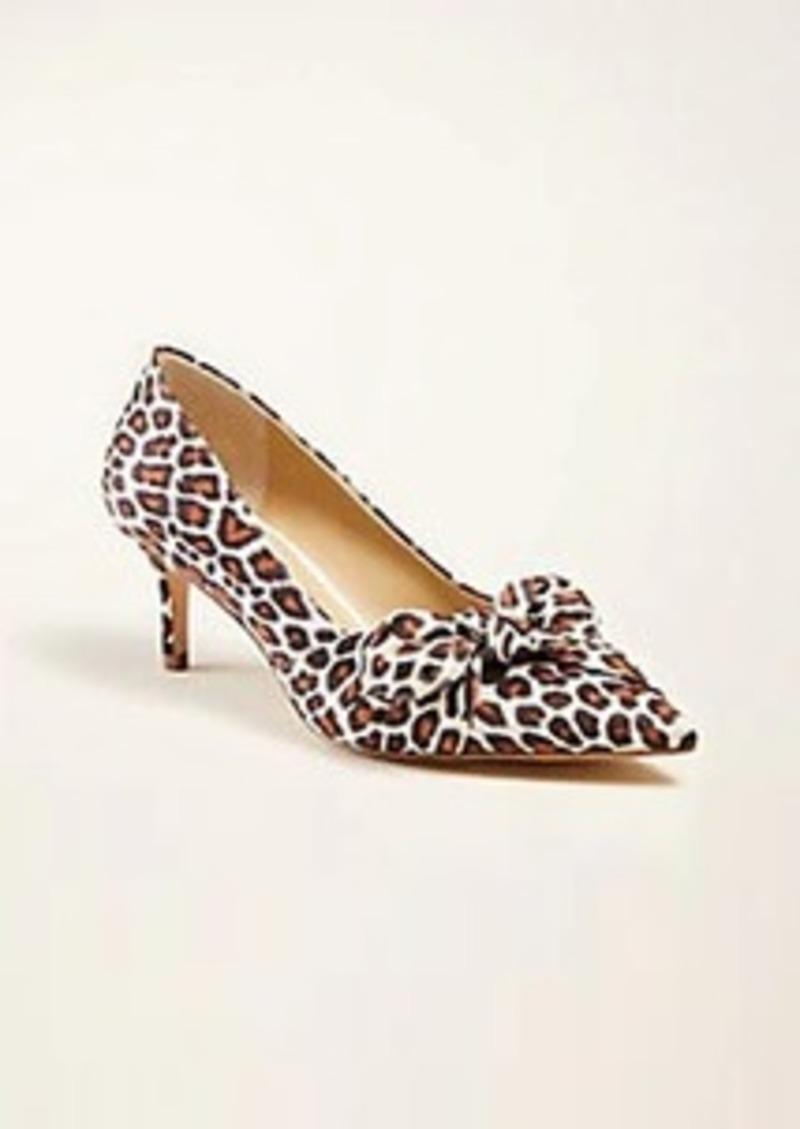 Ann Taylor Teagan Leopard Print Side Bow Pumps