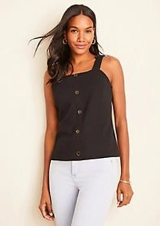 Ann Taylor Textured Button Square Neck Tank