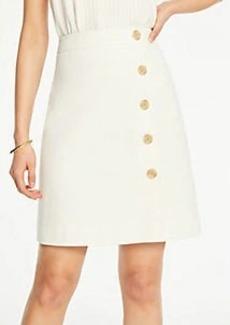 Ann Taylor Textured Buttoned A-Line Skirt