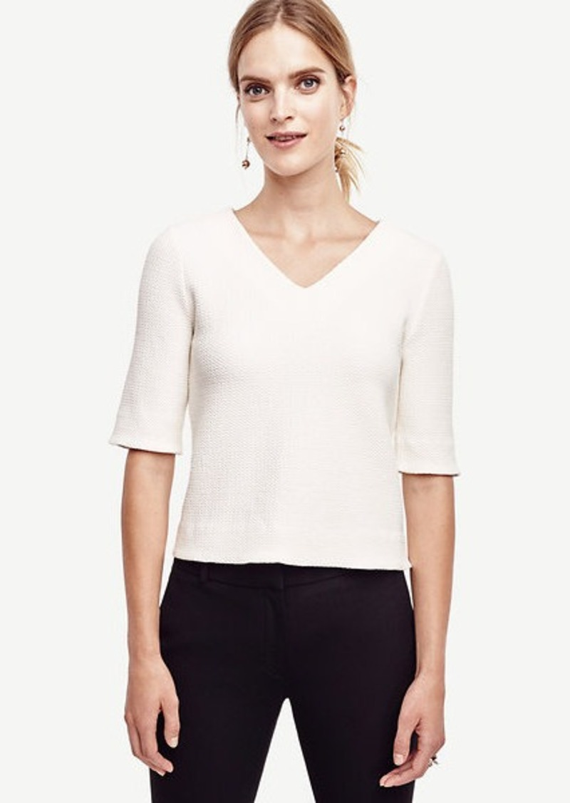 Ann Taylor Textured Double V Top
