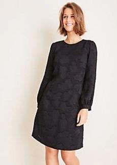 Ann Taylor Textured Floral Blouson Sleeve Shift Dress
