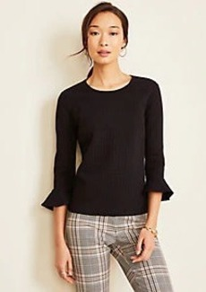 Ann Taylor Textured Houndstooth Fluted Sleeve Top