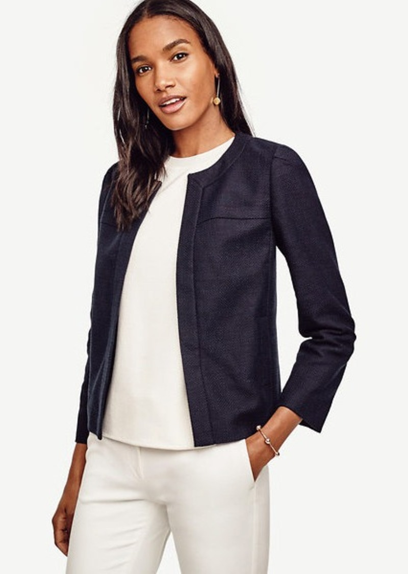Ann Taylor Textured Open Front Jacket
