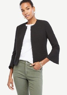 Ann Taylor Textured Tweed Fluted Sleeve Jacket