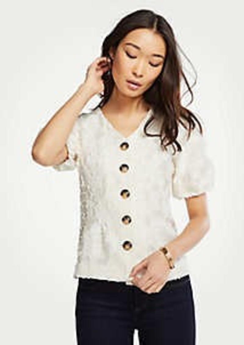 Ann Taylor Textured V-Neck Button Top