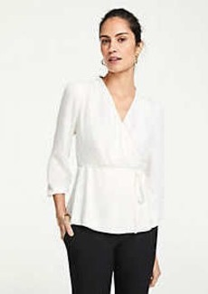 Ann Taylor Textured Wrap Top