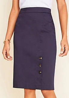 Ann Taylor The Buttoned Pencil Skirt in Cotton Sateen