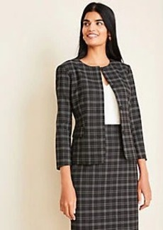 Ann Taylor The Crewneck Jacket in Plaid