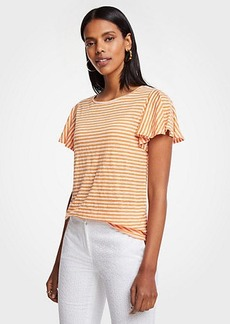 Ann Taylor The Flutter Linen Tee In Shaded Stripe