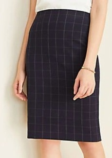 Ann Taylor The Pencil Skirt in Navy Windowpane Bi-Stretch