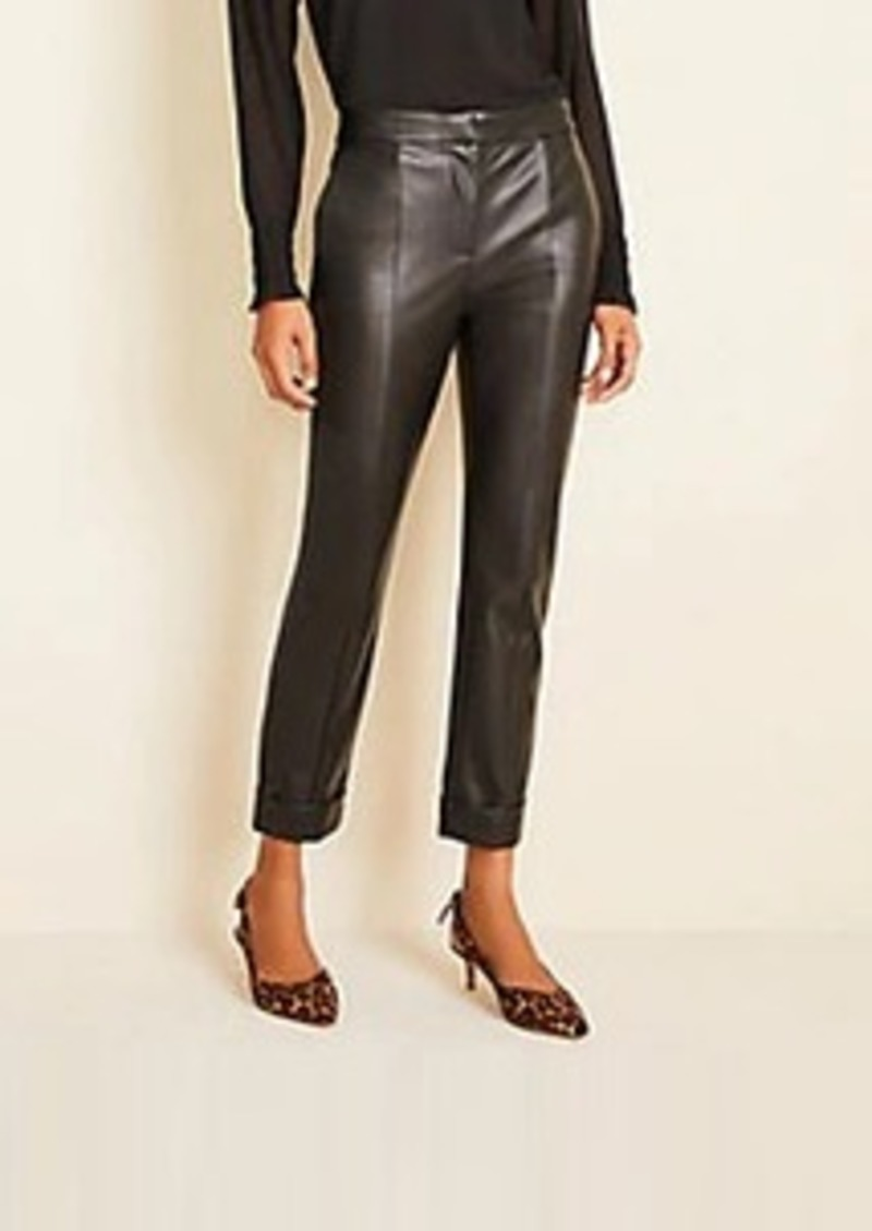 The Petite High Waist Ankle Pant in Faux Leather