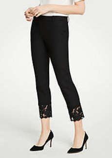 Ann Taylor The Petite Ankle Pant With Lace Hem