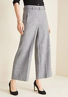 Ann Taylor The Petite Belted Wide Leg Marina Pant in Crosshatch