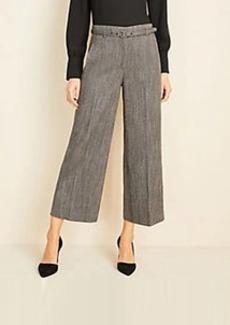 Ann Taylor The Petite Belted Wide Leg Marina Pant in Herringbone