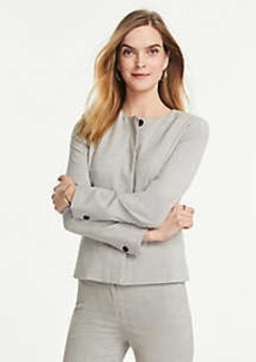 Ann Taylor The Petite Crew-Neck Jacket in Crosshatch