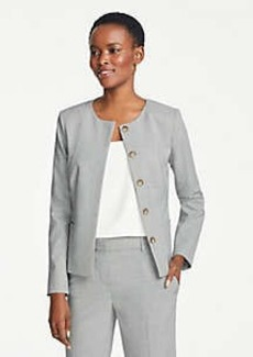 Ann Taylor The Petite Crewneck Jacket in Graph Check