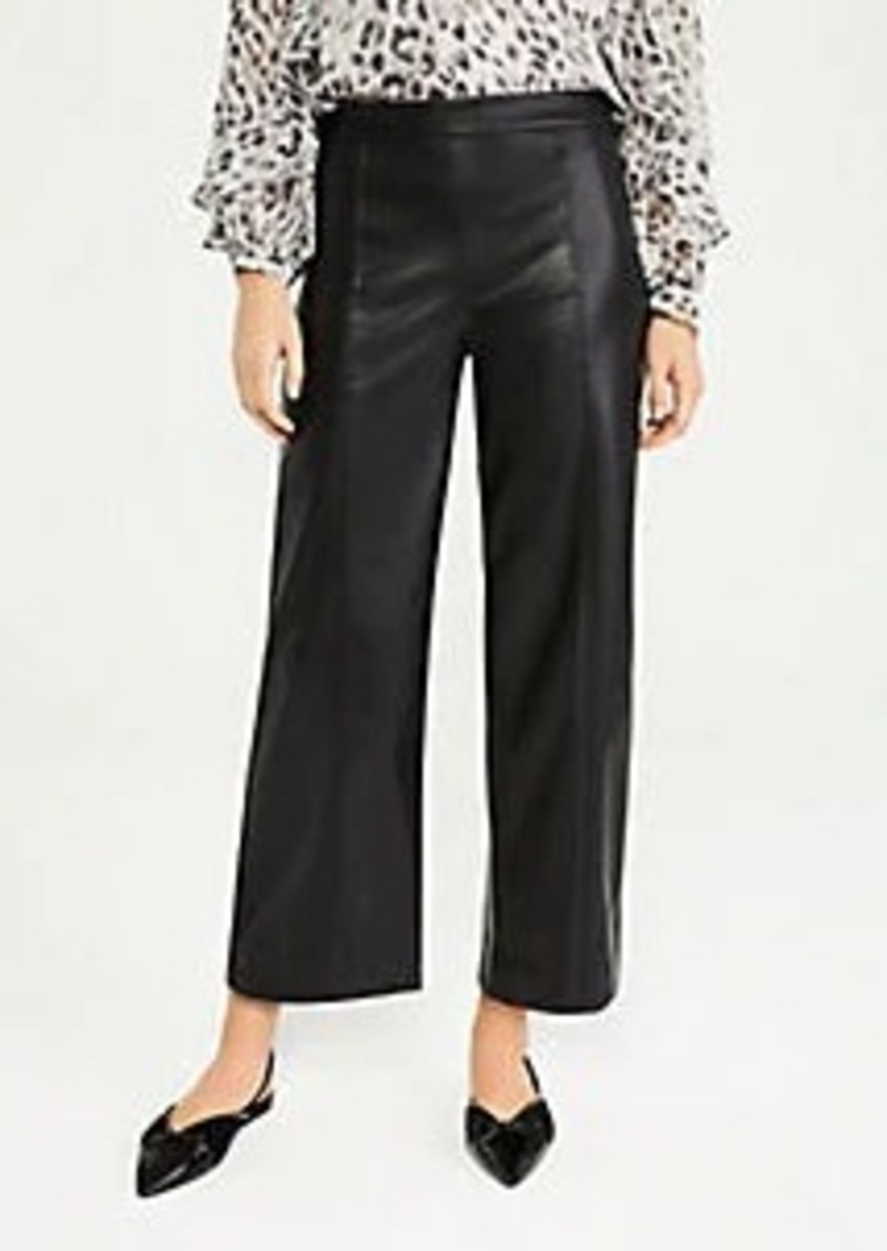 The Petite Faux Leather Wide Leg Crop Pant