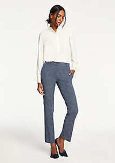 Ann Taylor The Petite Straight Leg Pant In Crosshatch