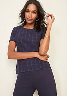 Ann Taylor The Short Sleeve Top in Navy Windowpane Bi-Stretch