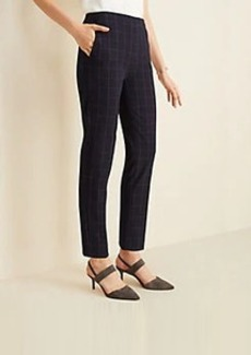 Ann Taylor The Side Zip Ankle Pant in Navy Windowpane Bi-Stretch
